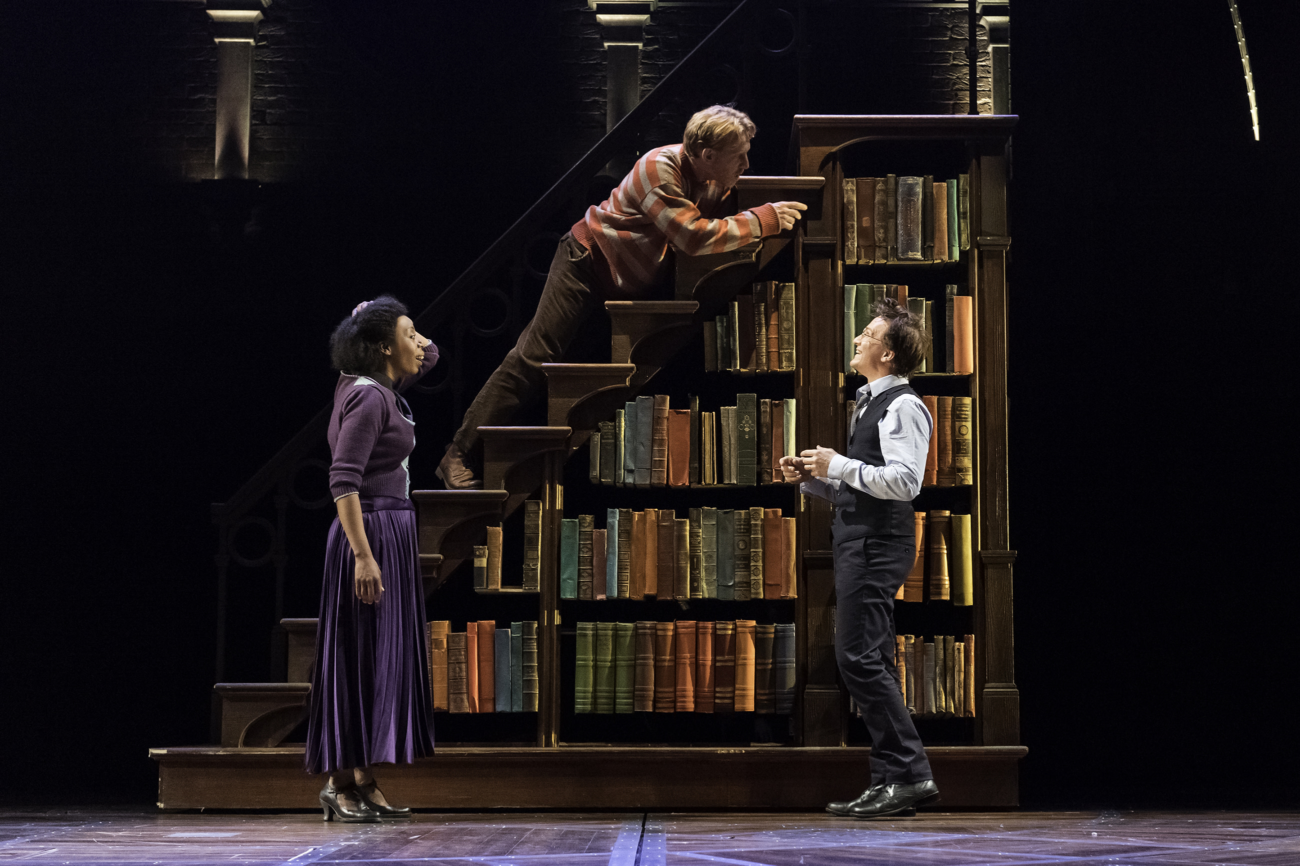 CC Broadway Noma Dumezweni Hermione Paul Thornley Ron Jamie Parker Harry Ministry of Magic bookcase AOB Premiere