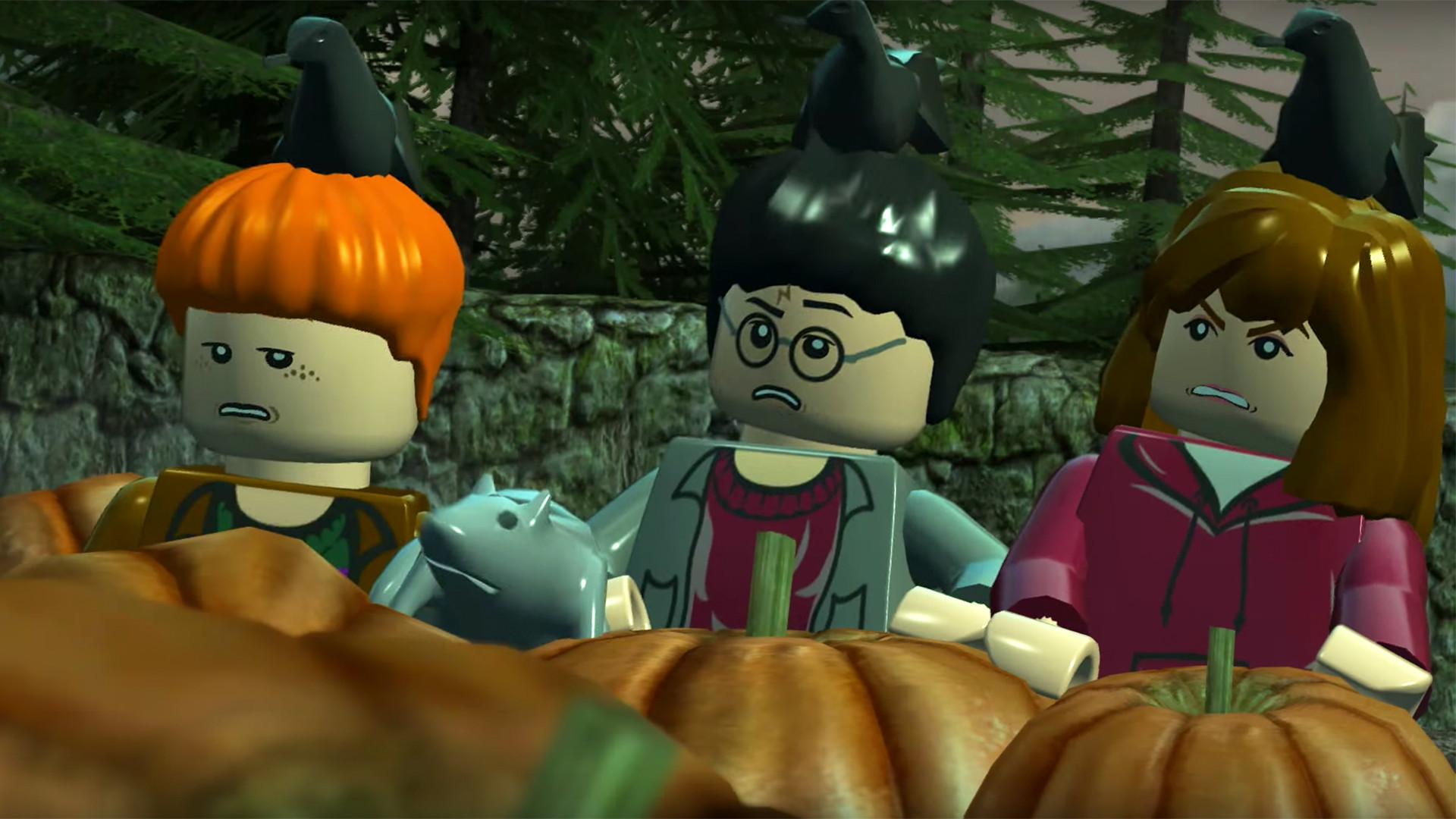 LEGO Harry Ron and Hermione in the pumpkin patch