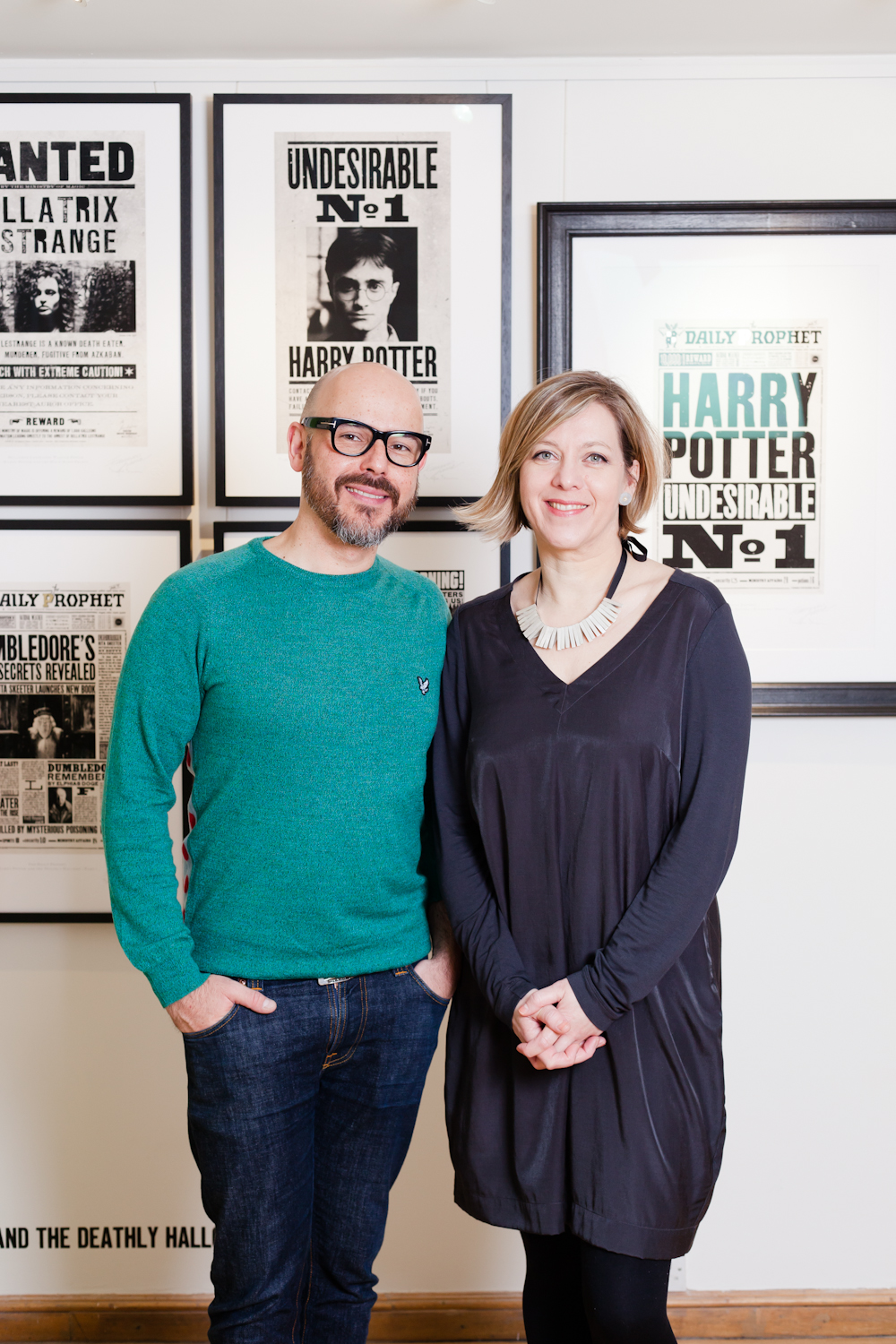 ML Mira and Eduardo with prints MinaLima