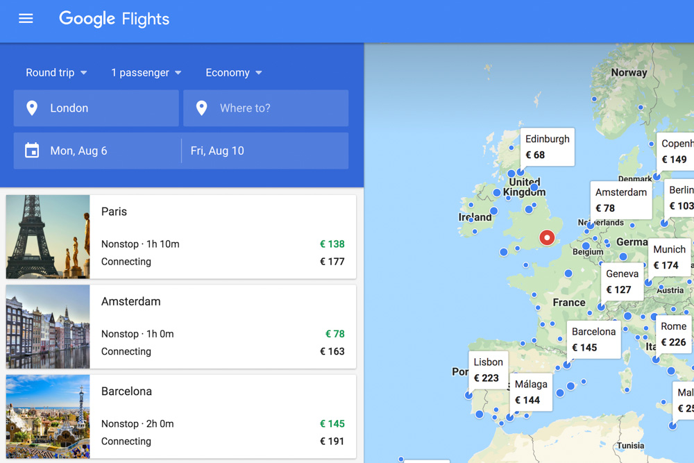 Google Flights homepage