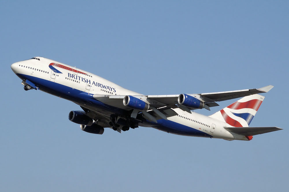 British Airways plane in the air