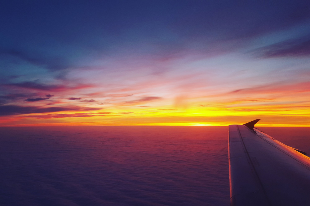 Watching sunset from the plane