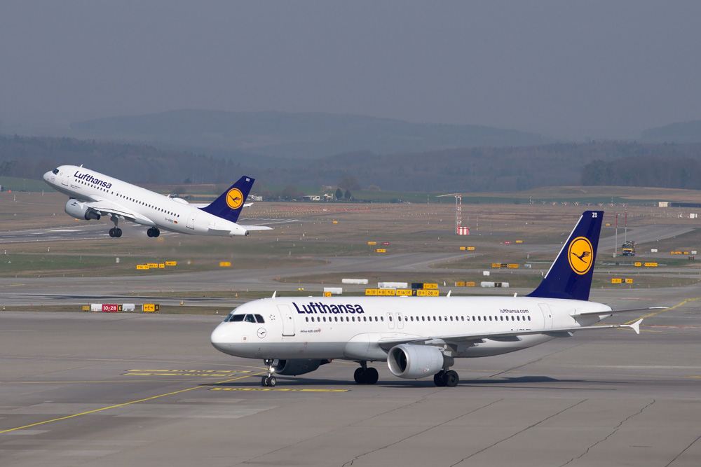 Two Lufthansa airplanes