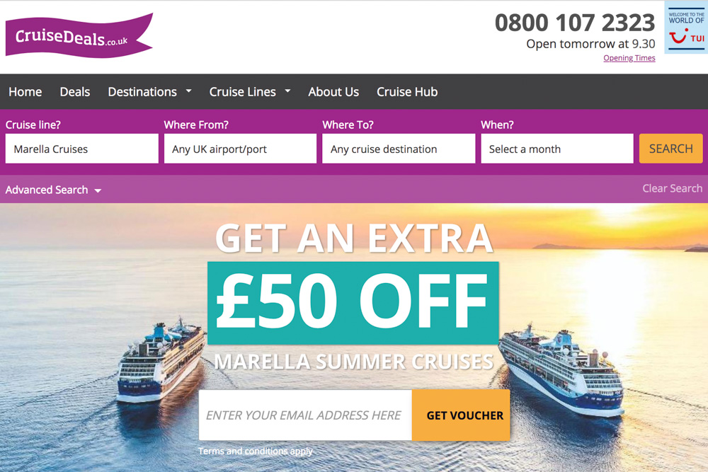 Cruise Deals website homepage featuring some of the best cruise deals