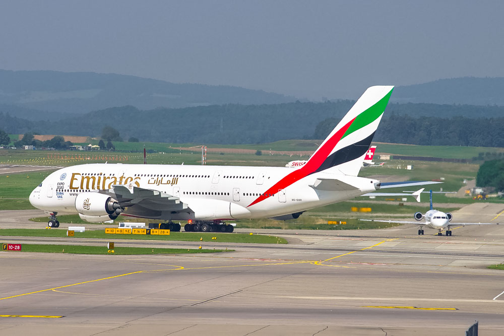 Emirates airplane at the airport