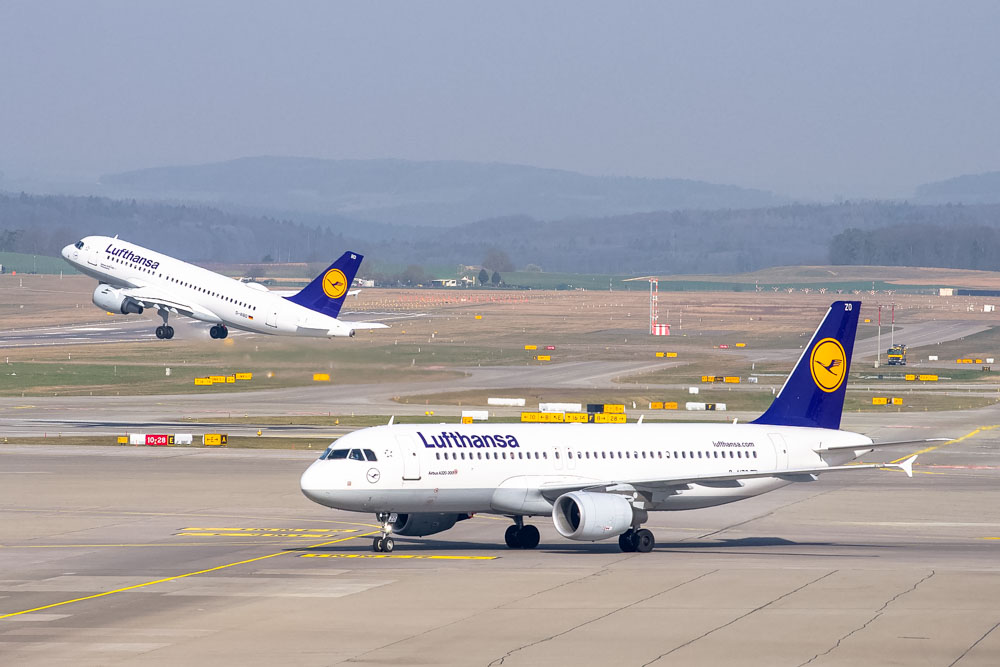 Lufthansa airplane at the airport
