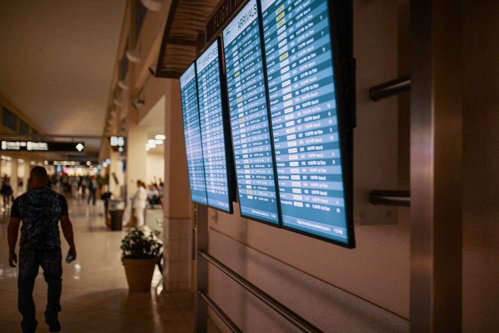 Departure and arrival screen at the airport