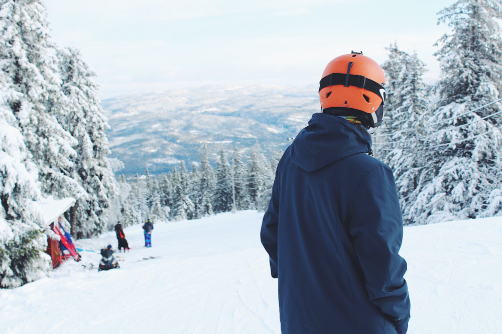 Snowboarder in the mountains, surrounded by trees