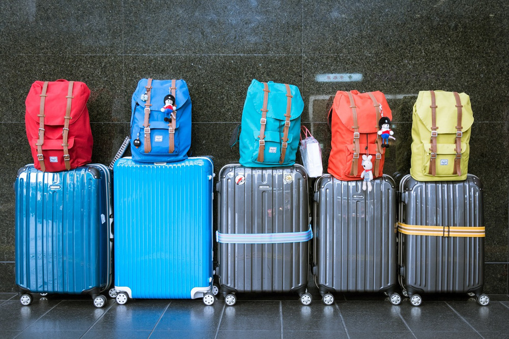 Suitcases and backpacks