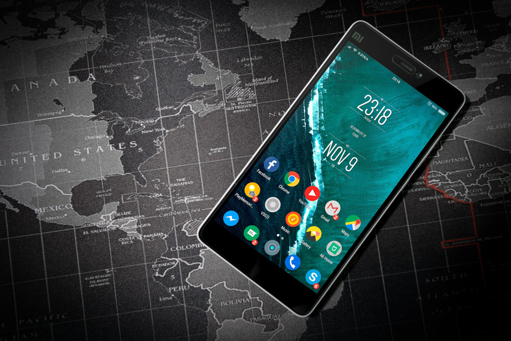 A smartphone on a map