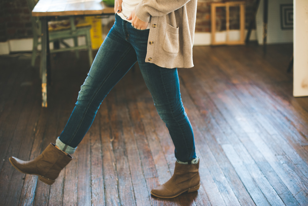 Boots and cardigan - Packing essentials for winter