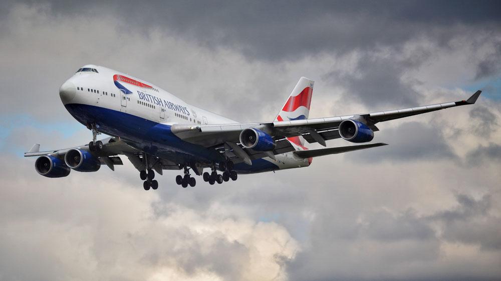 British Airways airplane in the air