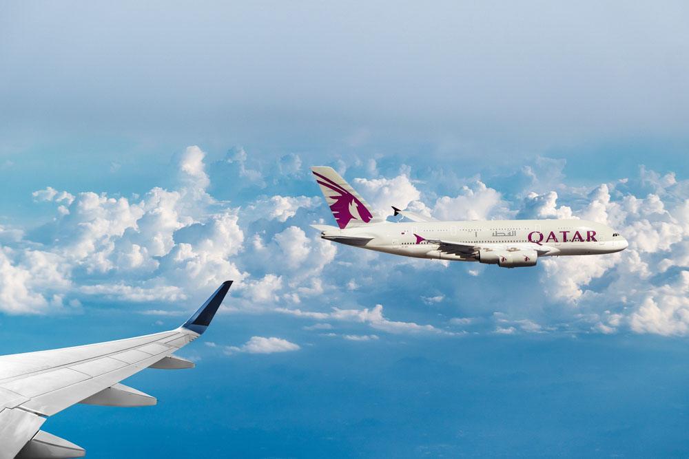 Qatar Airways airplanes in the air