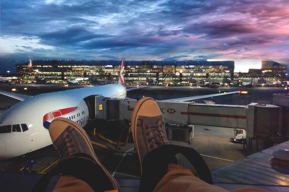 Man sleeping in airports