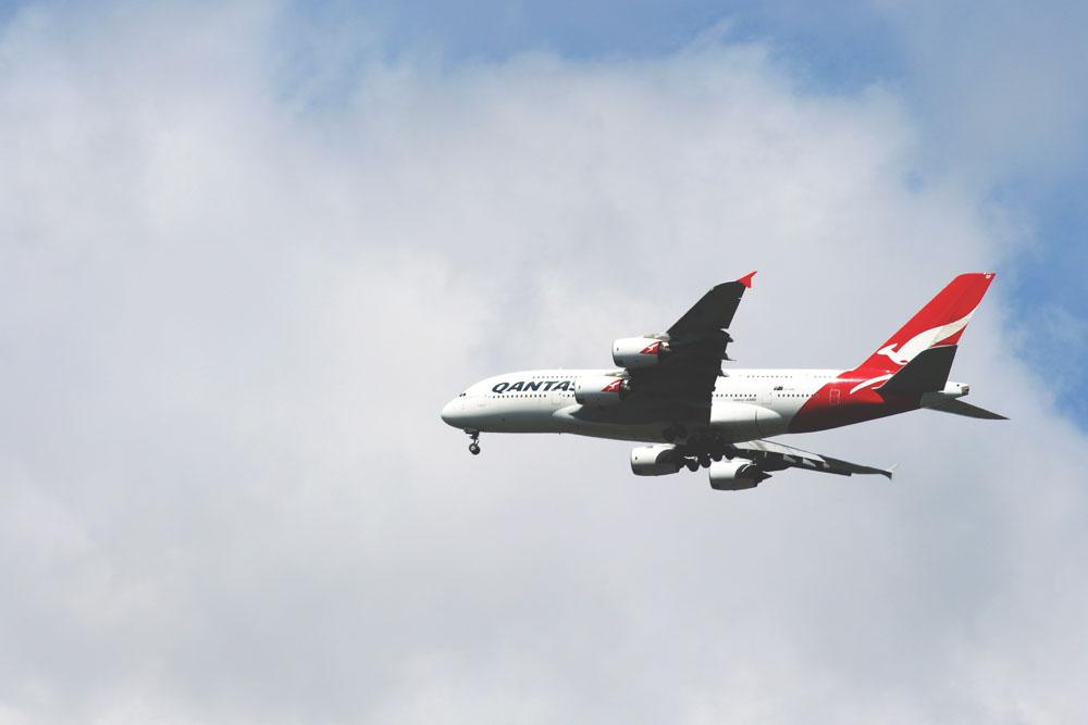 Qantas Airways airplane in the air