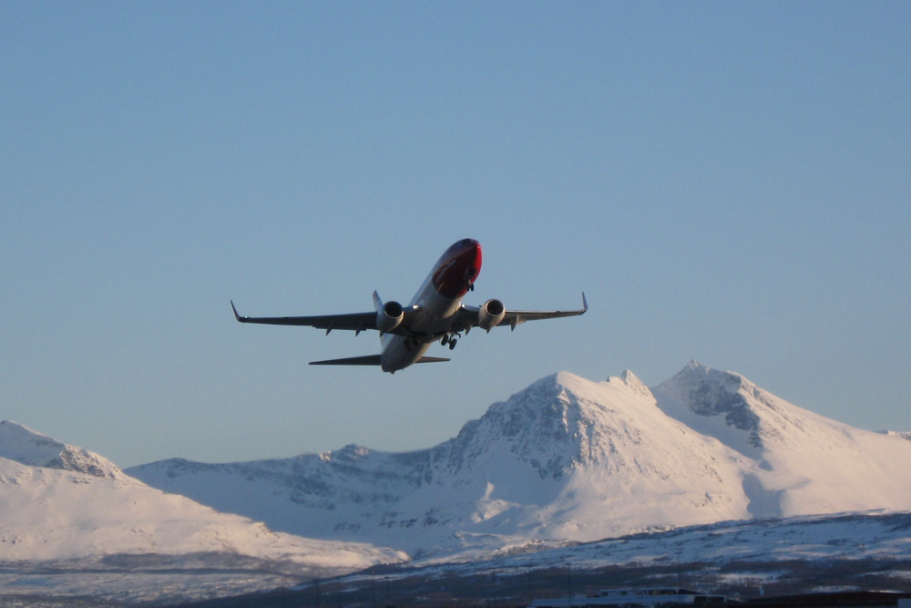 Norwegian aircraft in the sky
