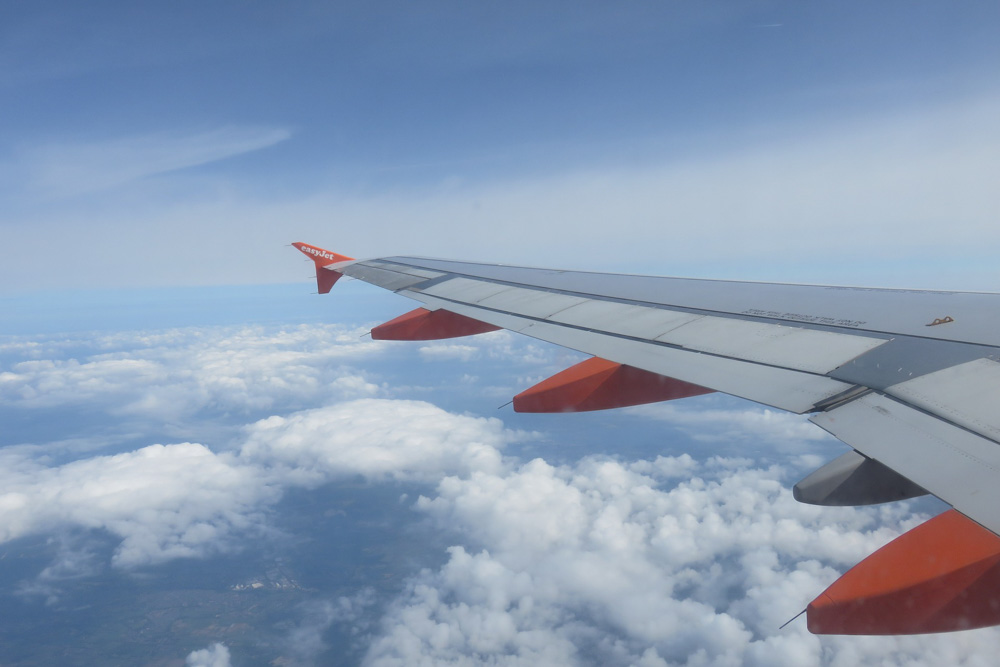 easyjet aircraft in the air