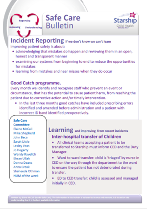 Safe Care Bulletin Incident reporting January 2017