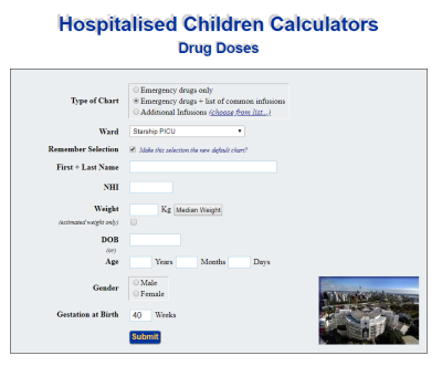 resuscitation drugs - PICU Calculator