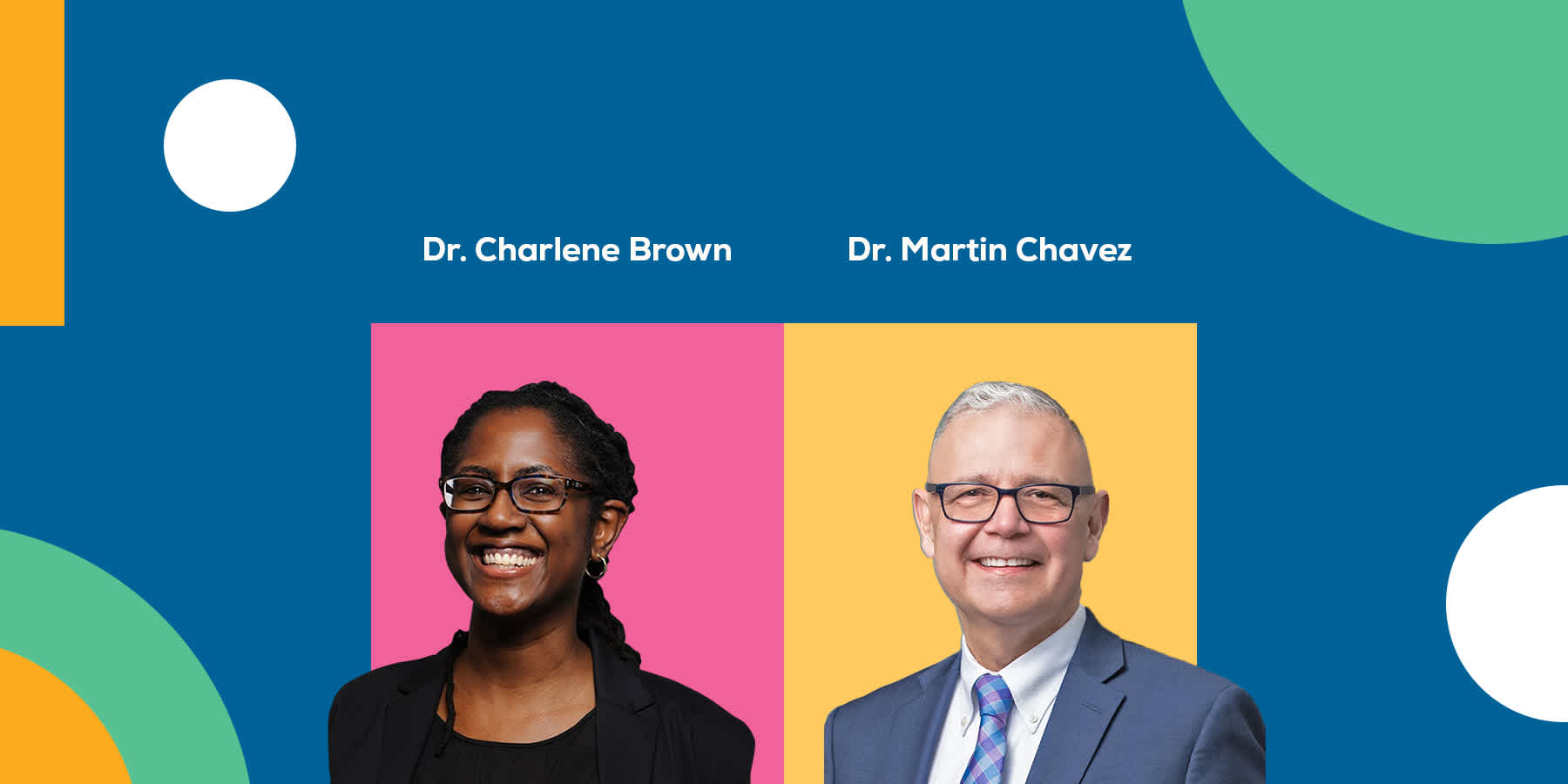Two doctors placed on a colorful background