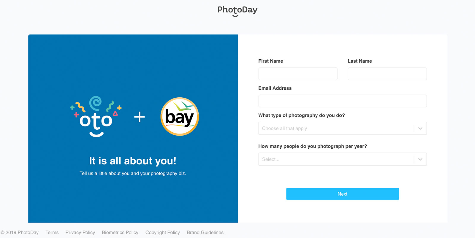 Signup step 1 with Bay Photo