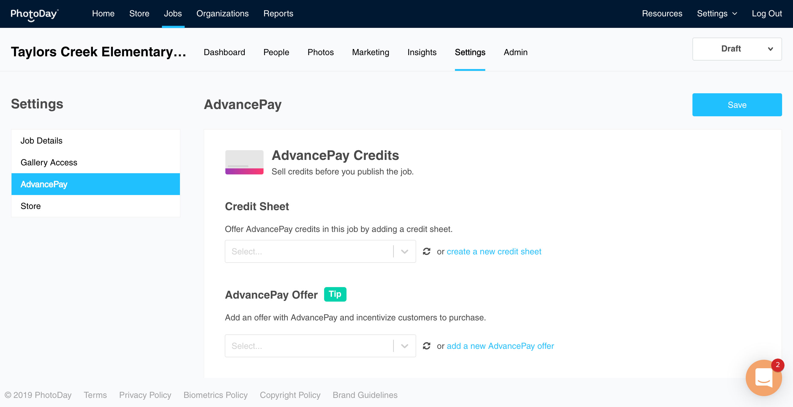 Jobs - Advance Pay page