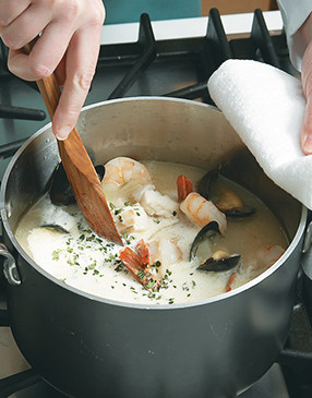Add the cream at the very end and simmer the chowder briefly, just to reheat the liquid.