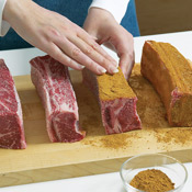When rubbing the ribs with the spice mix, thoroughly coat all sides and press the spices into the meat for maximum flavor.