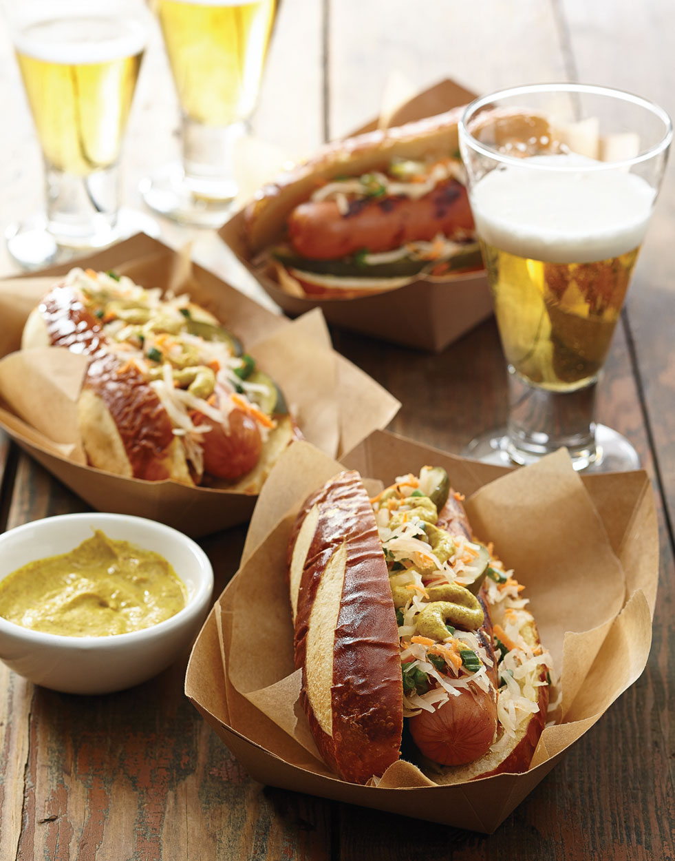 Pretzel Dogs with kraut relish