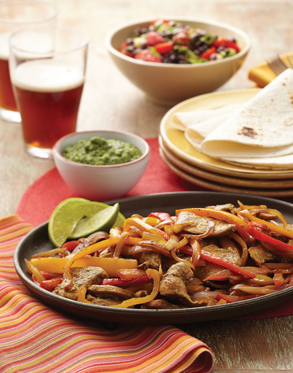 Chicken Fajitas with Cilantro-Lime Pesto