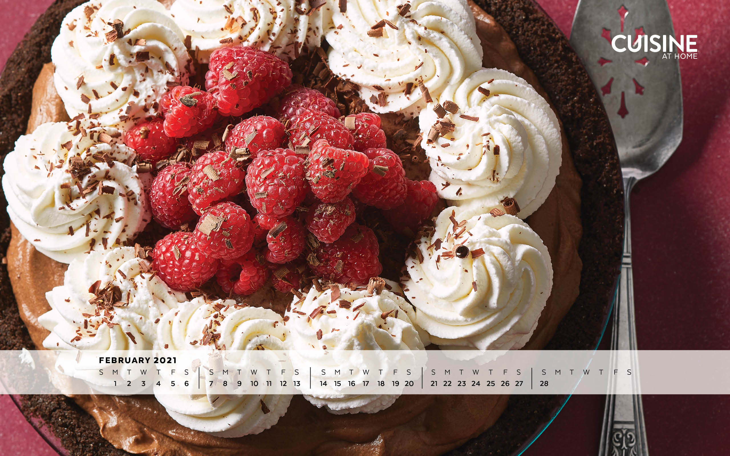 February Valentine's Day chocolate cream pie desktop wallpaper aesthetic with calendar from Cuisine at Home