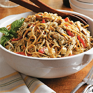 Pesto Pasta Turkey with Roasted Red Peppers