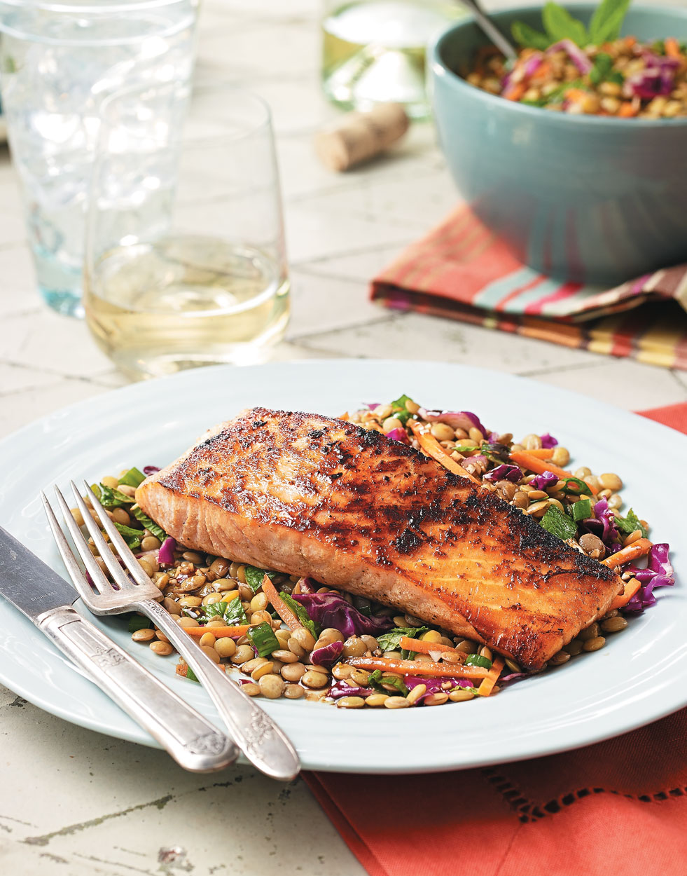 Salmon & Lentil Salad with Balsamic Vinaigrette