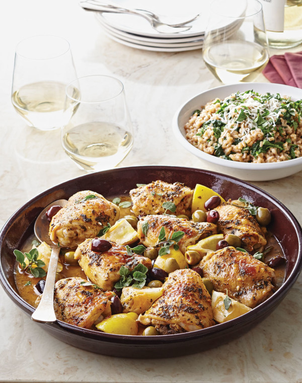 Roasted Chicken Thighs with Olives & Lemons