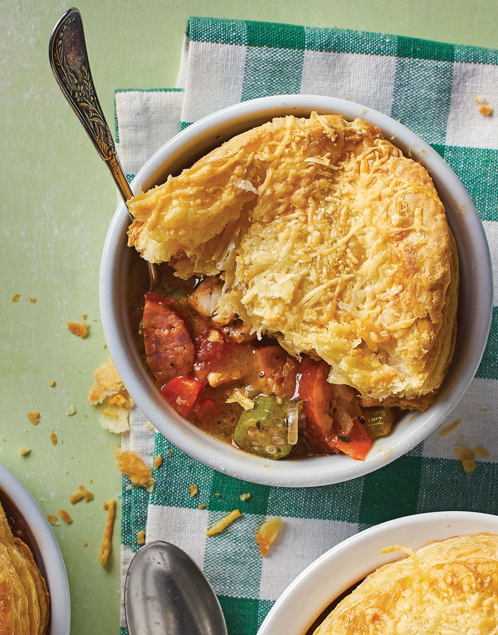 "Chicken Gumbo ""Pot Pie"" with puff pastry rounds"
