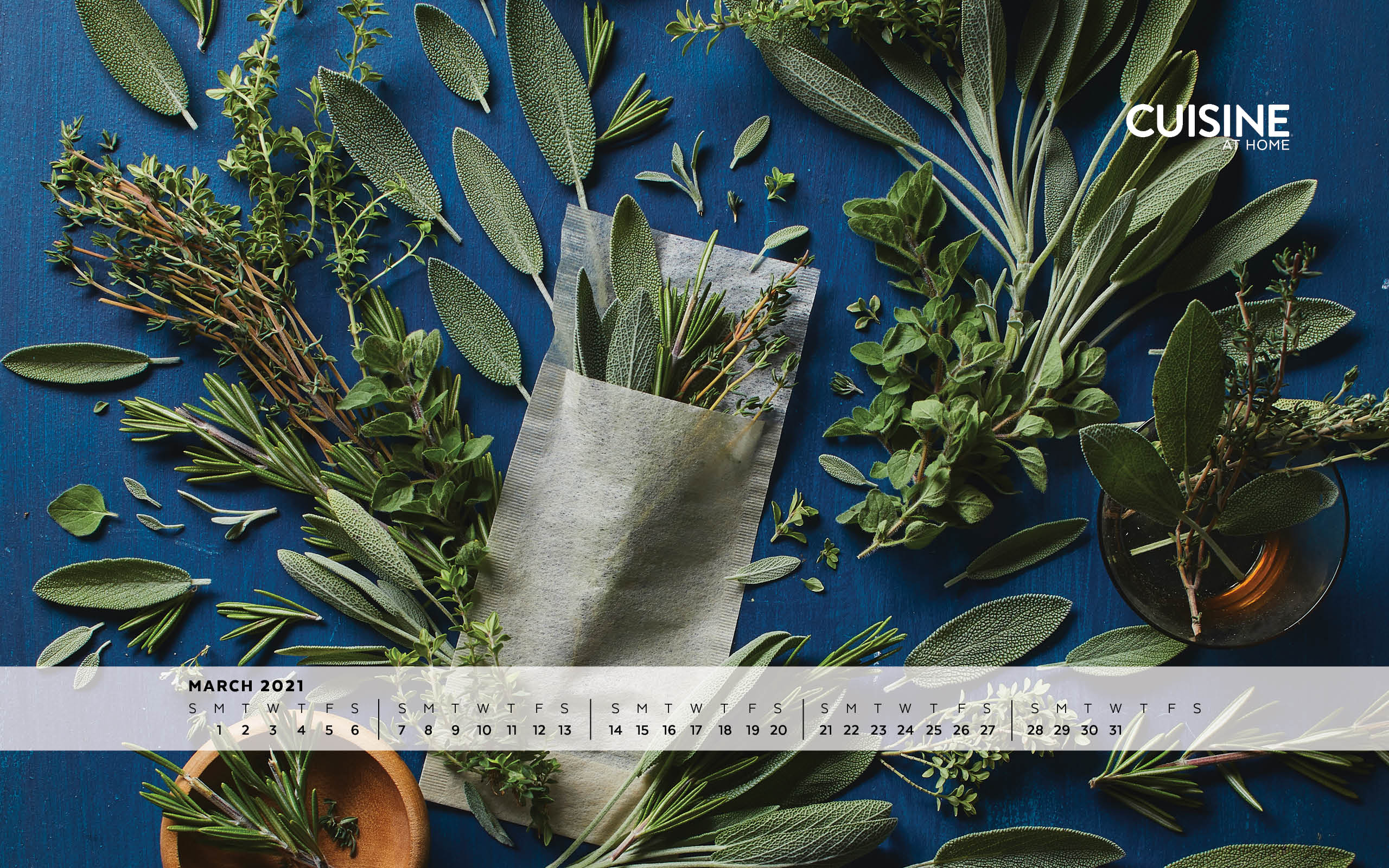 March  aesthetic desktop wallpaper with calendar ft herbs green plants gardening cooking food tea for iPhone or Android from Cuisine at Home