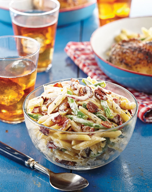 Green Bean Pasta Salad with bacon & pecans