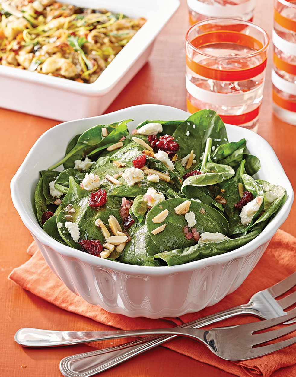 Spinach Salad with Dried Cranberries & Feta