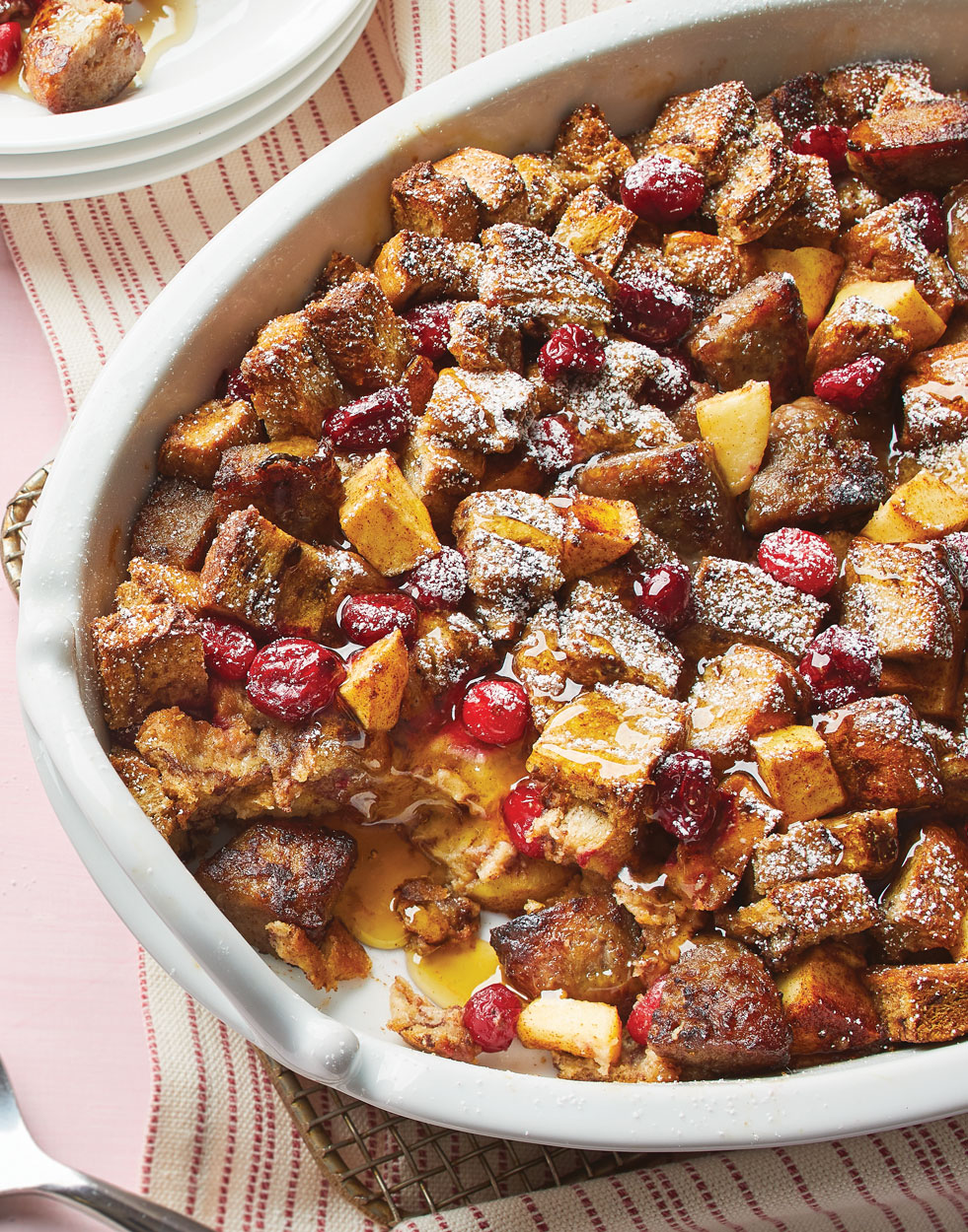 French Toast Bake with apple, cranberry & sausage