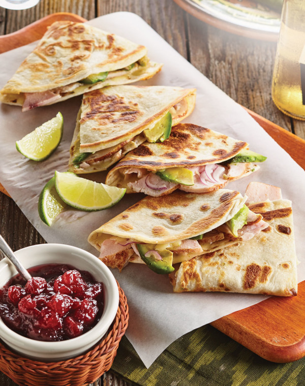 Turkey & Avocado Quesadillas with Chipotle-Cranberry Sauce