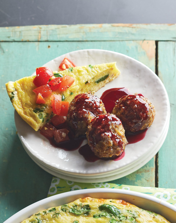 Breakfast Sausage Meatballs with blackberry glaze