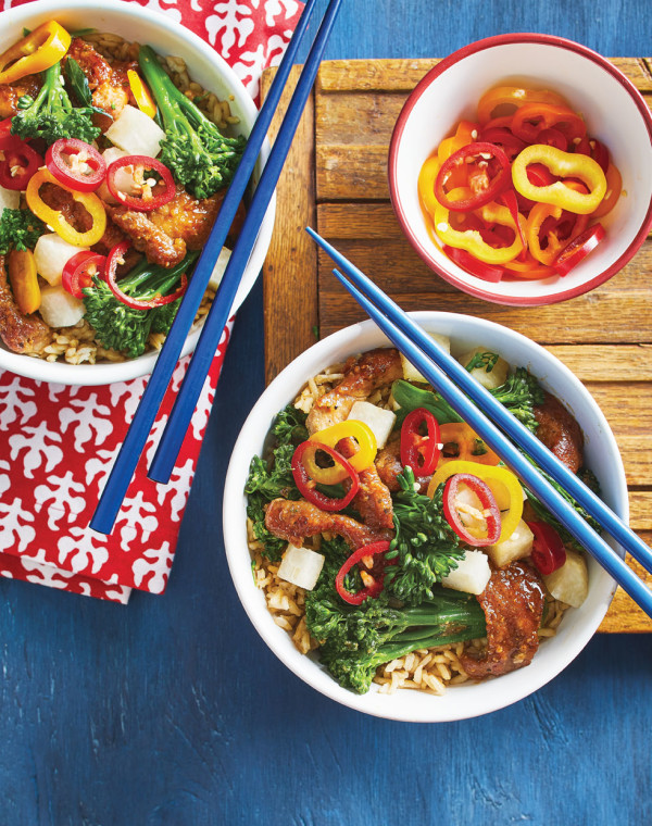 Miso Pork Bowls with Broccolini
