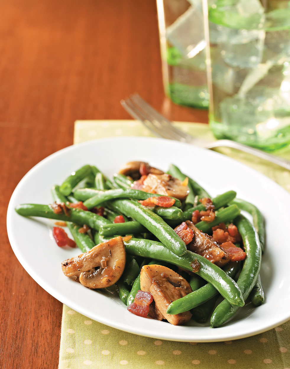 Green Beans with Bacon & Mushrooms
