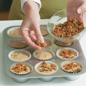 Sprinkle about 2 tsp. streusel topping onto each of the muffins before baking.