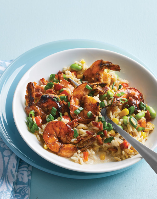 Honey-Tabasco Shrimp with bacon-succotash rice
