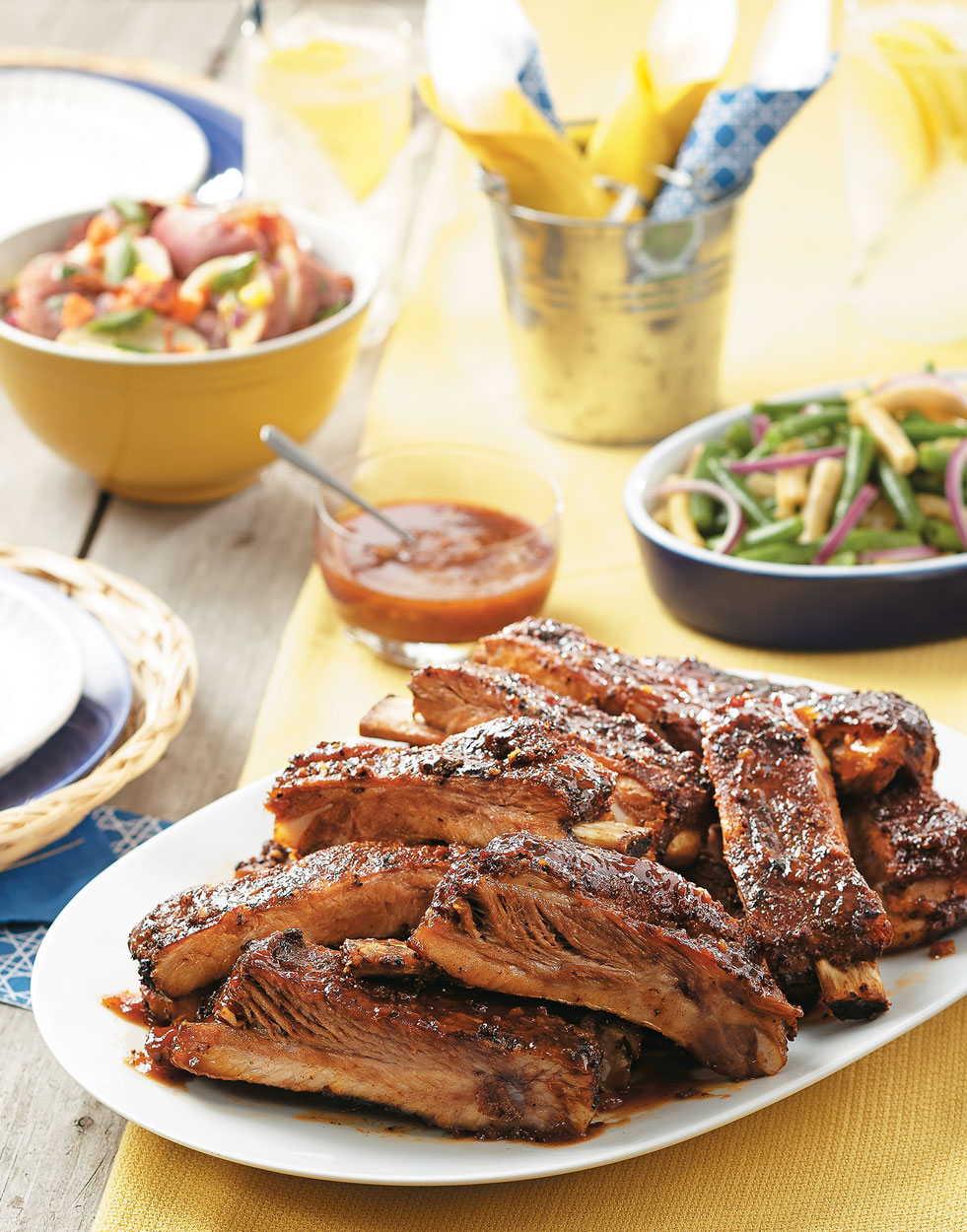 Spicy Dry Rubbed & Grilled Spareribs with bock barbecue sauce