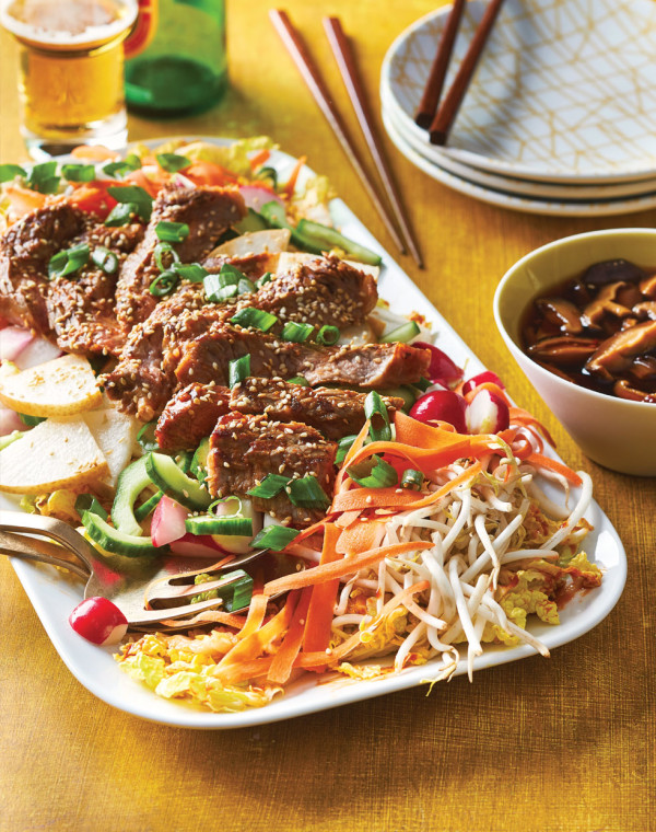 Steak Bulgogi Salad with pickled shiitakes