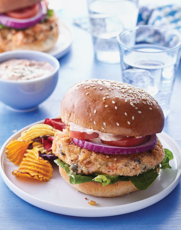 Salmon Burgers with Smoked Paprika Sauce