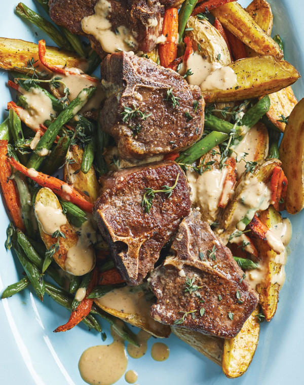 Lamb Chops with Mustard-Thyme Sauce and Roasted Fingerling Potatoes with Carrots & Green Beans