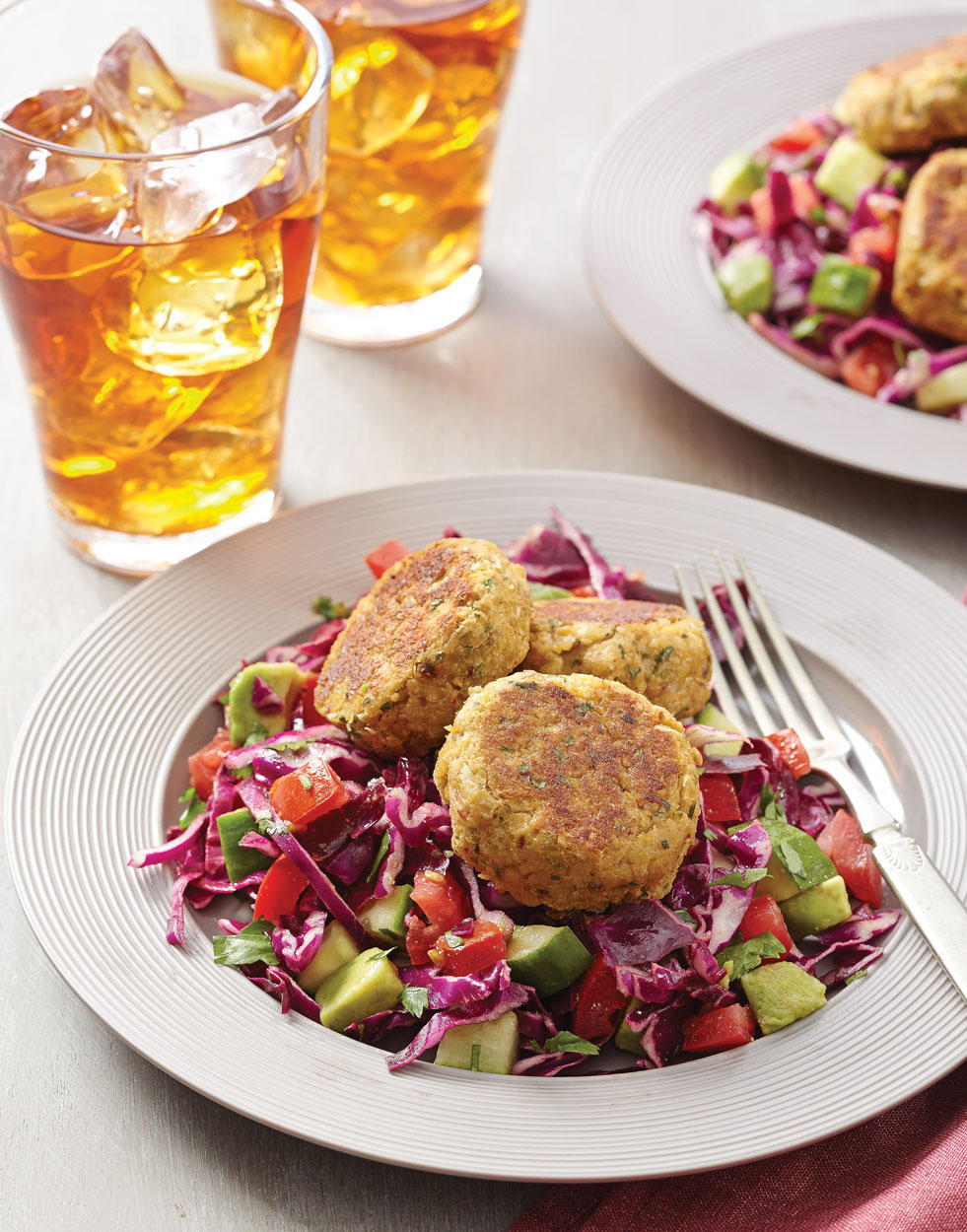 Red Cabbage Salad Bowls with Chickpea Cakes